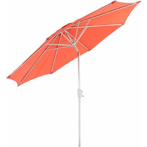 Parasol en aluminium N19, 300 cm, inclinable, inoxydable ~ terre cuite