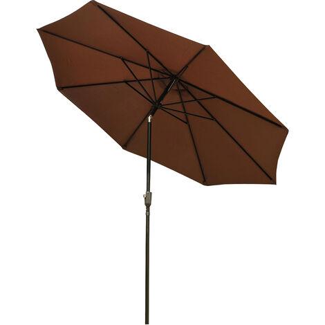 Parasol en aluminium rond polyester 180g/m2 manivelle inclinable diamètre 300 cm chocolat