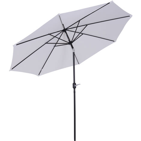 Parasol en aluminium rond polyester 180g/m2 manivelle inclinable diametre 300cm blanc