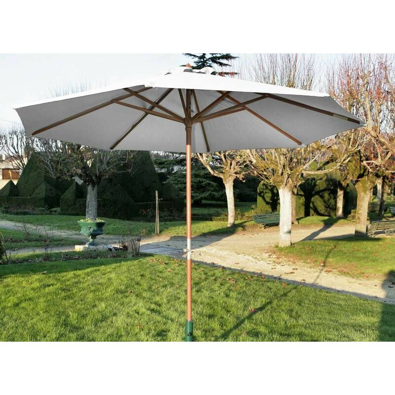 Parasol en bois 300 cm avec manivelle Holly ecru - Ecru