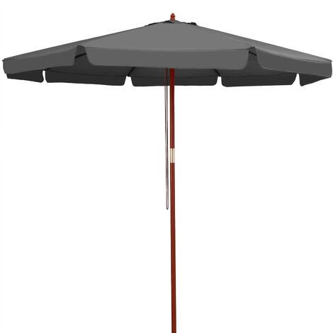 Parasol en bois 330 cm protection UV 50+ hydrofuge Anthracite