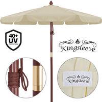 Parasol en bois crème Ø330cm - Imperméable ouverture aération - Jardin terrasse
