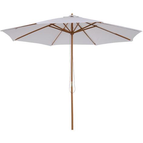 Parasol droit en bois polyester haute densité protection solaire Ø 3 x 2,5 m crème