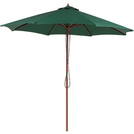 Parasol en bois et toile en tissu vert