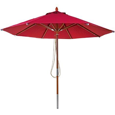 Parasol en bois HHG-521, parasol de jardin, polyester/bois 14kg, corde ronde Ø3m antichoc ~ terre cuite