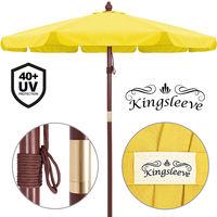 Parasol en bois jaune Ø330cm - Imperméable ouverture aération - Jardin terrasse