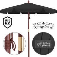 Parasol en bois noir Ø330cm - Imperméable ouverture aération - Jardin terrasse