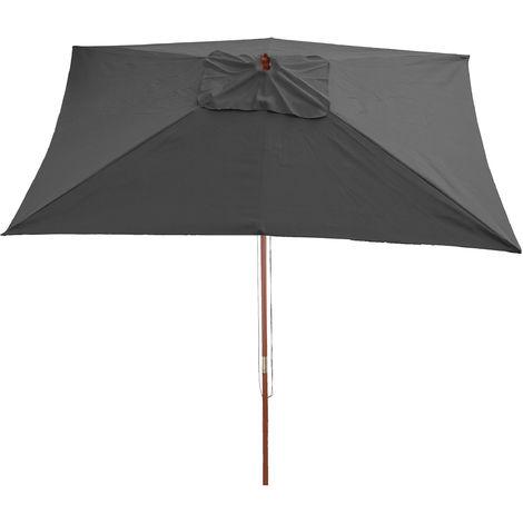 Parasol en bois, parasol de jardin Florida, parasol de marché, rectangulaire 2x3m