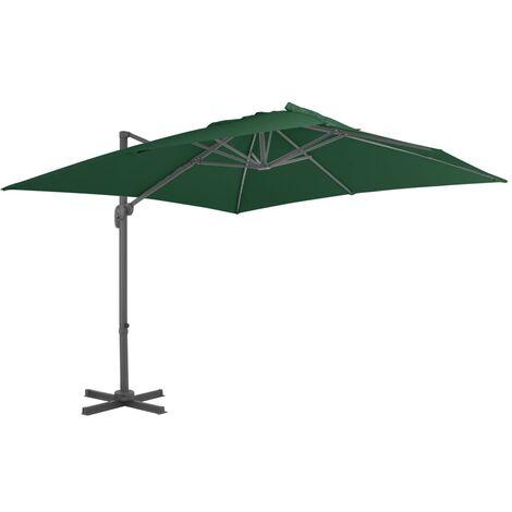 Parasol en porte-à-faux avec mât en aluminium 400x300 cm Vert
