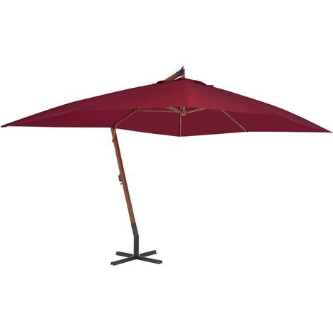 Parasol en porte-à-faux avec mât en bois 400 x 300 cm Bordeaux