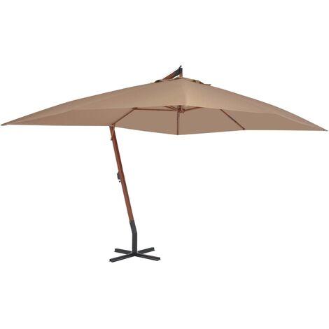 Parasol en porte-à-faux avec mât en bois 400 x 300 cm Taupe