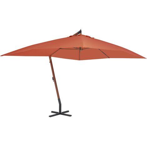 Parasol en porte-à-faux avec mât en bois 400x300 cm Terre cuite