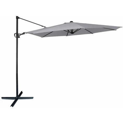 Parasol excéntrico 300 cm Ø mástil aluminio color gris Aktive Garden