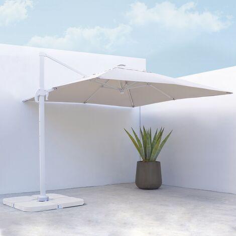 Parasol excéntrico cuadrado blanco con led de aluminio de 300x300 cm