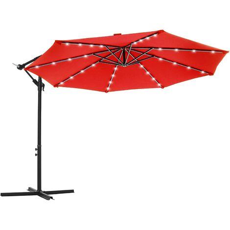 Parasol excéntrico de jardín, con 32 LEDs de luz solar, Sombrilla Ø 3 m con base, Protección UPF50+, Manivela para abrir/cerrar, Terraza/patio, Rojo GPU018R01 - Rojo