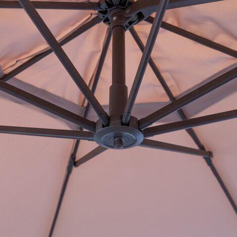 Parasol excéntrico rectangular marrón de aluminio de 300x400 cm