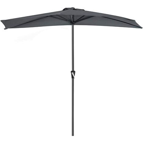 Parasol excéntrico, Sombrilla de balcón con semicírculo Dia. 2,7 m, con manivela, Sombrilla con protección UPF50+, Base no incluida, para terraza jardín Exterior, Gris GPU31GY - Gris