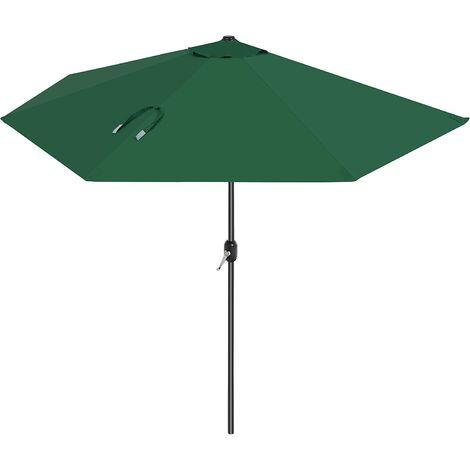 Parasol excéntrico, Sombrilla de balcón con semicírculo Dia. 2,7 m, con manivela, Sombrilla con protección UPF50+, Base no incluida, para terraza jardín Exterior, Verde Oscuro GPU31GN - Verde Oscuro