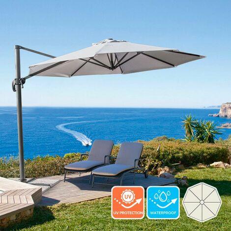 Parasol excéntrico sombrilla de jardín 3 m aluminio octogonal PARADISE