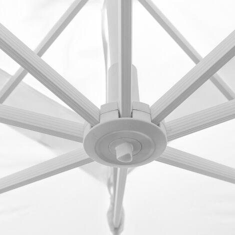 Parasol excéntrico Tiber hexagonal blanco de aluminio de Ø 350 cm