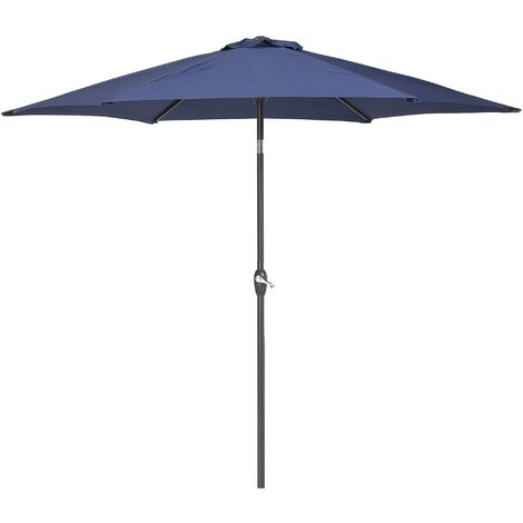 Parasol inclinable avec base métalique et toile en tissu bleu