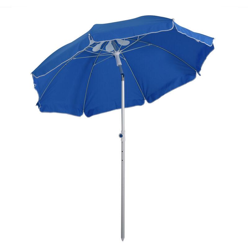Parasol inclinable octogonal Ø 190 cm tissu polyester haute densité anti-UV hauteur réglable mât alu sac de transport inclus bleu