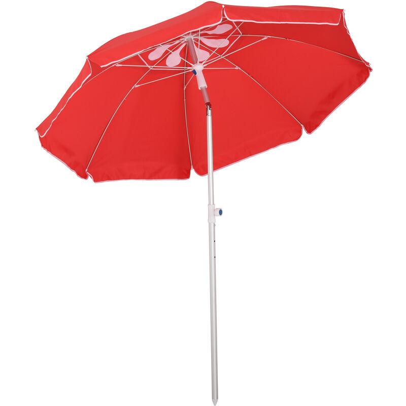 Parasol inclinable octogonal Ø 190 cm tissu polyester haute densité anti-UV hauteur réglable mât alu sac de transport inclus rouge
