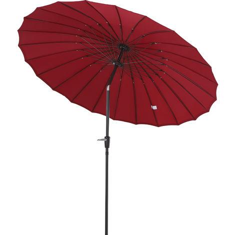 Parasol inclinable rond avec manivelle aluminium fibre de verre polyester diamètre 2,6 m