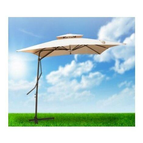 Parasol Jardin 2,5X2,5 M Lateral Aluminio Beige Cuadrado