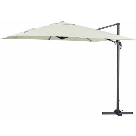 """Parasol jardin déporté Alu """"Sun 3"""" - Carré - 3 x 3 m - Ecru"""