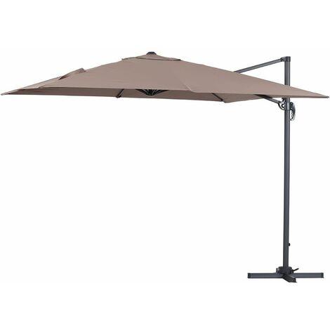 """Parasol jardin déporté Alu """"Sun 3"""" - Carré - 3 x 3 m - Taupe"""