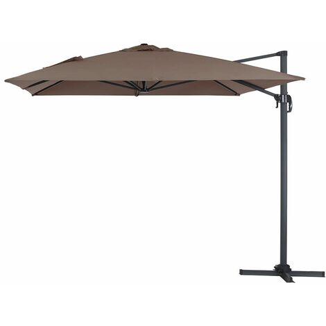 "Parasol jardin déporté Alu ""Sun 4"" - Rectangle - 3 x 4 m - Taupe"
