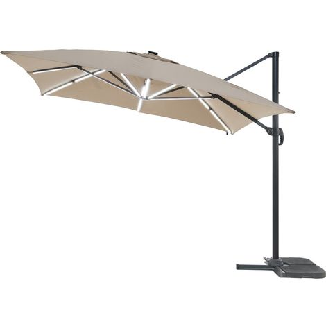Parasol jardin déporté LED Alu