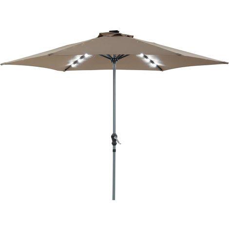 Parasol jardin LED Alu Sol Luxe - Redondo - Ø 3m - Topo