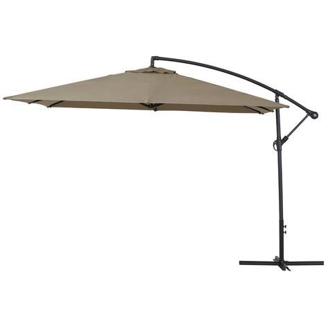 Parasol lateral de jardín Aluminio Ilios 3 Cuadrado 3 x 3 m - Topo