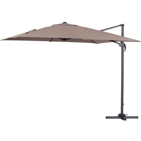 Parasol lateral de jardín en aluminio - Sun 3 - Cuadrado - 3 x 3 m - Topo