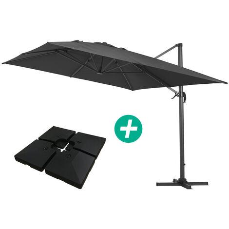 Parasol Lateral de jardín en aluminio - Sun 4- Rectangular- 3 x 4 m - lastre incluido