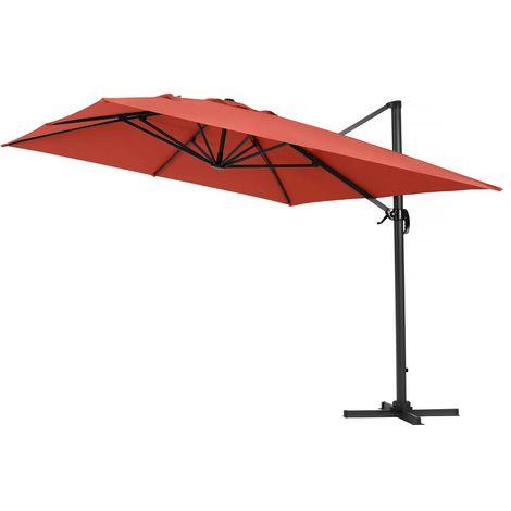Parasol Lateral de jardín en aluminio - Sun 4- Rectangular- 3 x 4 m - Rojo