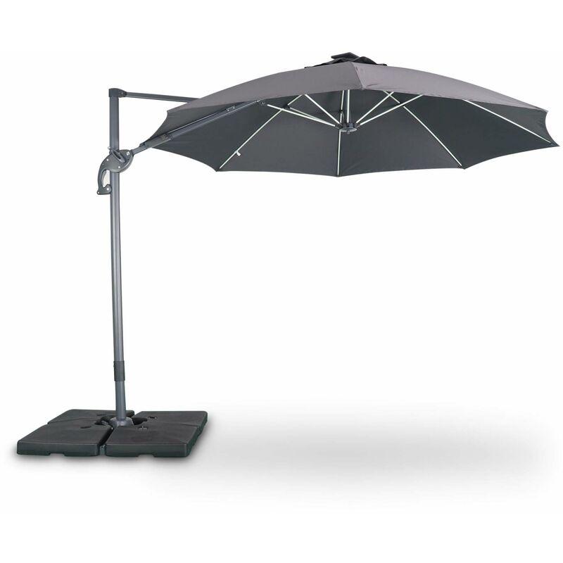 Parasol led déporté rond Ø300 cm – Dinard – gris – parasol exporté, inclinable, rabattable et rotatif à 360°, baleines en fibre de verre