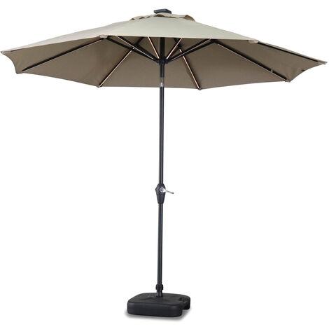 Parasol LED redondo 2,7 m - Helios Terracota - Parasol de poste central con luz integrada y asa de apertura - Terra Cotta