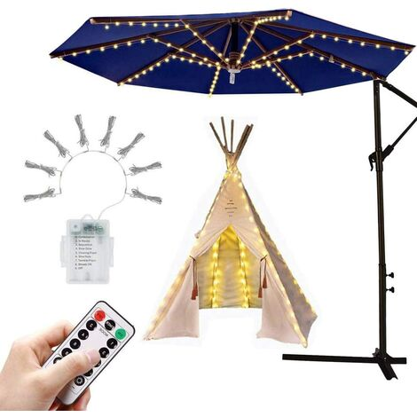 """main image of """"Parasol Lighting Umbrella Fairy Lights with 104 LED Lights with Remote Control 8 Mode Waterproof Garden Lights for Party Christmas Halloween Decoration Camping Tents Battery Operated"""""""