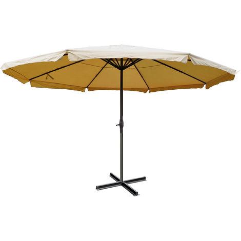 Parasol Meran Pro, parasol pour marché avec volants Ø 5m polyester/alu 28 kg ~ anthracite sans socle