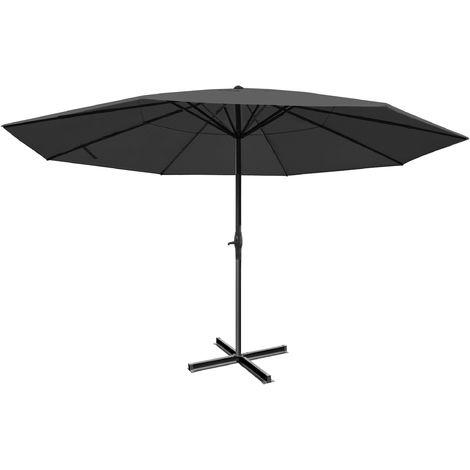 Parasol Meran Pro, parasol pour marché sans volants Ø 5m polyester/alu 28 kg ~ anthracite sans socle