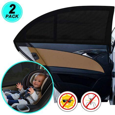 Parasol para coche, red universal para parasol para coche, para ventanas laterales Material de malla que protege a pasajeros, bebés, niños y mascotas, 2 piezas
