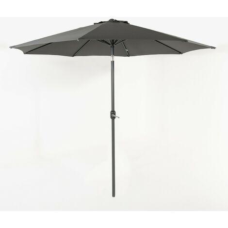 Parasol para jardín de aluminio | Mástil central | Redondo 300 cm | Salida de viento | Tela gramaje 200 gr color gris | Portes gratis