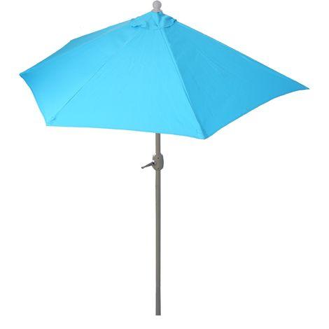 Parasol Parla en alu, hémicycle, parasol de balcon UV 50+ ~ 300cm bleu sans pied