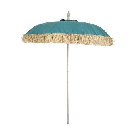 Parasol Raphia Textile Bleu Bois Blanc Wash