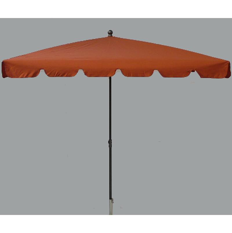 Pegane - Parasol rectangulaire centré coloris Terracotta - Dim : H 250 x D 240 x 160/4 baleines