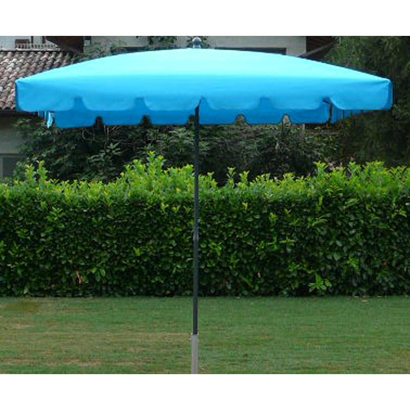 Pegane - Parasol rectangulaire centré coloris Turquoise - Dim : H 250 x D 240 x 160/4 baleines