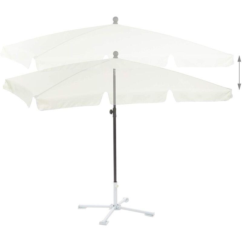 Helloshop26 - Parasol rectangulaire de plage de jardin hauteur réglable inclinable 200 x 120 cm blanc - Blanc